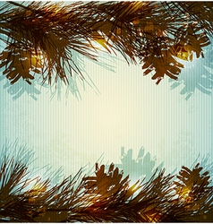 Pine branches and cones vector image vector image
