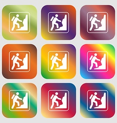 rock climbing sign icon Nine buttons with bright vector image vector image