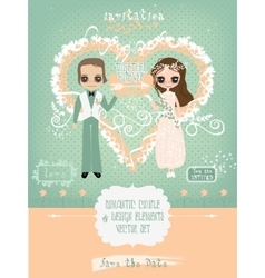 Romantic Couple for Wedding or Valentines Cards vector image vector image