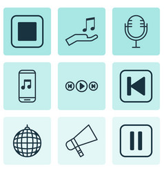 Set of 9 music icons includes stop button mute vector