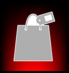 shopping bag with tag vector image vector image