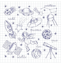 Space Explorers Doodles Set vector image