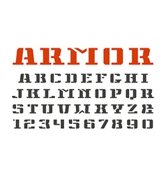 Stencil plate serif font and numerals vector
