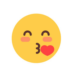 Yellow smiling cartoon face blow kiss emoji people vector