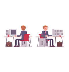 young businessman working at the computer rear vector image vector image