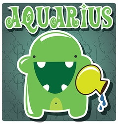 Zodiac sign aquarius with cute colorful monster vector