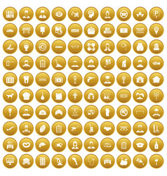 100 favorite work icons set gold vector image vector image