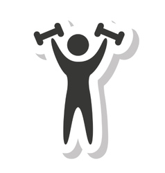 Human silhouette strong weight lifting vector