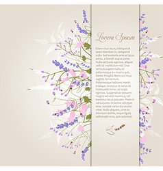 Composition of delicate wild flowers on a beige vector