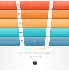 Template infographic colour strips 5 position vector