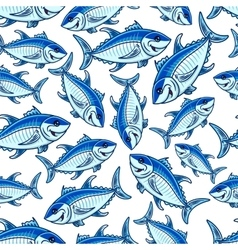 Flock of atlantic tuna fishes seamless pattern vector