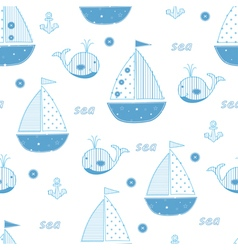 Seamless pattern with abstract cute sailships vector image