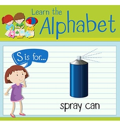 Flashcard letter s is for spray can vector