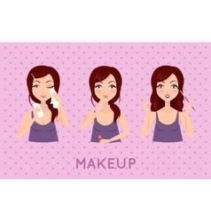 Beauty woman applying makeup set vector