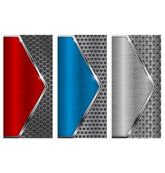 metal brushed background with perforation red vector image