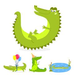 Cartoon green crocodile funny predator australian vector