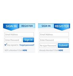 Register sign in forms with blue gradient header vector