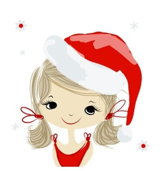 Santa girl portrait sketch for your design vector