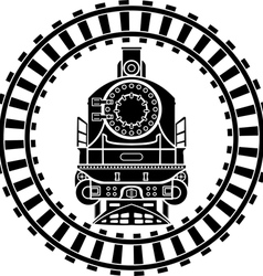 Old steam locomotive railway frame stencil vector