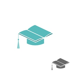 Mortarboard square academic cap and book logo vector image