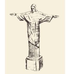 Statue of jesus christ rio de janeiro brazil vector