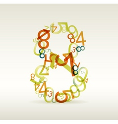 number eight made from colorful numbers vector image