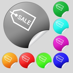 Sale icon sign set of eight multi colored round vector