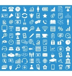 Office icon set blue vector