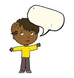 Cartoon boy with growth on head with speech bubble vector