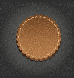 Round leather label - vector