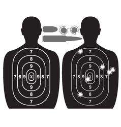 Human target bullet holes and cartridge case vector