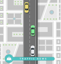 Paved path on the road in flat style traffic news vector