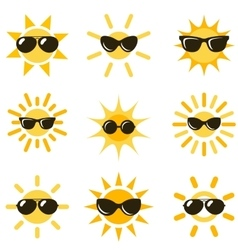 Sun icons with black sunglasses vector