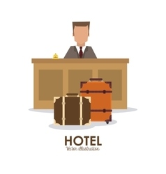 Hotel design service icon flat vector