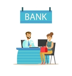 Bank manager at his desk and the client bank vector