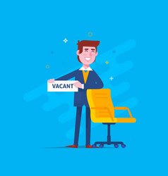 business man recruitment new job position vacancy vector image vector image