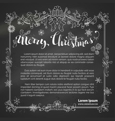 Chalk merry christmas frame on blackboard vector