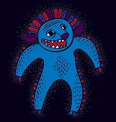 Comic character funny smiling alien monster vector