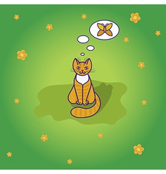 Cute little cat sitting on the green grass vector image vector image