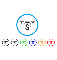 drone business rounded icon vector image vector image