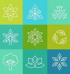 Ecology and organic logos in outline style vector