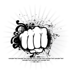 fist with rays background vector image vector image