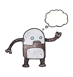 Funny cartoon robot with thought bubble vector