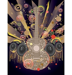 Grunge guitar and loudspeakers2 vector