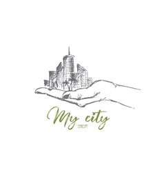 Hand drawn human palm holding big city lettering vector image vector image