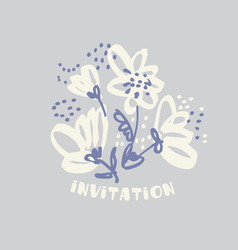 Hand drawn shabby floral design element vector