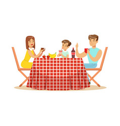 Happy family having lunch outdoors mother father vector