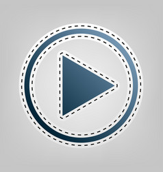 Play sign blue icon with vector