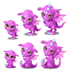 Purple cartoon dragon of different ages vector