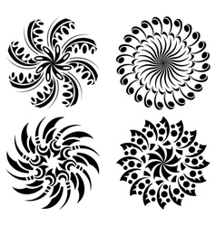 set of round black design elements vector image